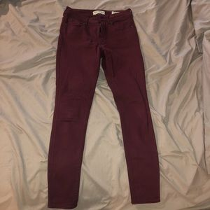 Pacsun Burgundy High-Rise Skinny Jeans